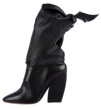 Christian Dior Round-Toe Leather Booties
