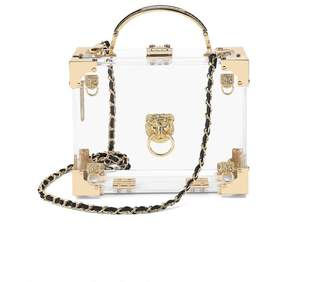 Aspinal of London Lion Mini Trunk Clutch In Transparent Acrylic With Gold Hardware