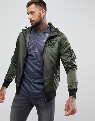SikSilk Windbreaker Jacket In Iridescent Khaki