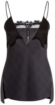La Perla Slipdress Black Tartan Silk Slip Camisole With Leavers Lace