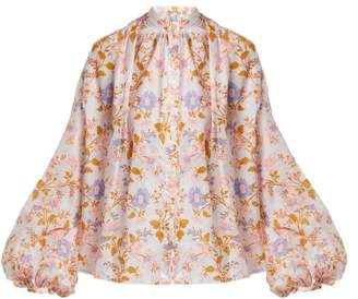 Thierry Colson Slava Floral Print Cotton Blouse - Womens - Pink White