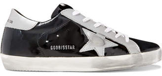 Golden Goose Superstar Distressed Metallic And Patent-leather Sneakers