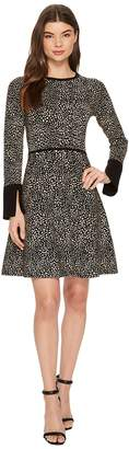 Vince Camuto Long Sleeve Animal Jacquard Flared Sweater Dress Women's Dress