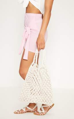 PrettyLittleThing Cream String Shopper Bag