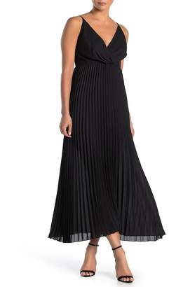 SEE THE SHADES Pleated Surplice Maxi Dress