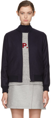 A.P.C. Navy Norma Bomber Jacket $455 thestylecure.com