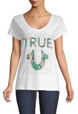 True Religion Tropical V-Neck Cotton Tee