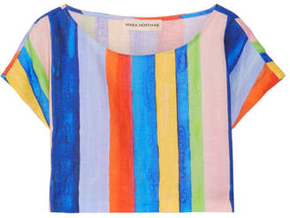 Mara Hoffman Striped Organic Linen Top - Blue