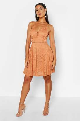boohoo Strappy V Front Lace Skater Dress