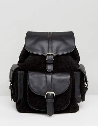 Glamorous Shealring Pocket Detail Backpack in Black
