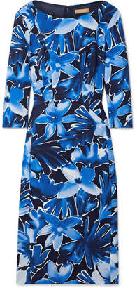 Michael Kors Floral-print Stretch-cady Midi Dress