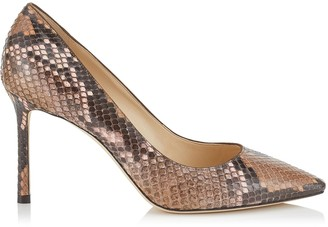 Jimmy Choo ROMY 85 Nutmeg and Rosewater Degrade Painted Python Pointy Toe Pumps