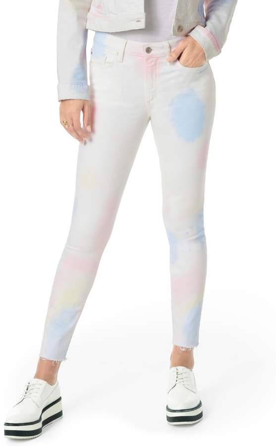 image result Joe's Charlie Paint Splatter High Waist Raw Hem Skinny Jeans