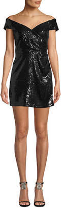 Jay Godfrey JAY X JAYGODFREY Off-the-Shoulder Sequin Mini Dress