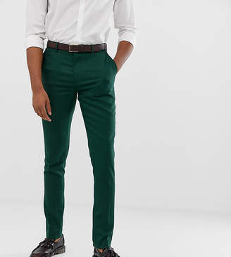 Asos Design DESIGN Tall wedding skinny suit trousers in forest green micro texture