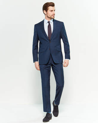 Ted Baker Two-Piece Navy Windowpane Plaid Suit