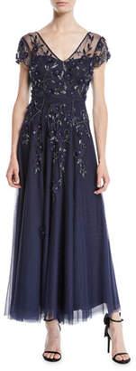 Parker Black Jillian V-Neck Gown w/ Beading