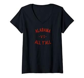 Victoria's Secret Womens Alabama All Y'All AL vd. ALL YALL V-Neck T-Shirt