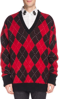 Alexander McQueen Men's Oversized Wool Argyle Sweater
