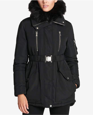 DKNY Faux-Fur-Collar Hooded Belted Puffer Coat