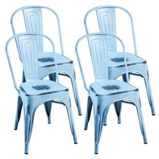 Merax Indoor-Outdoor Use Metal Stackable Dining Chairs, Set of 4