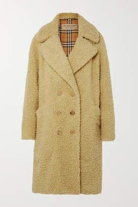 Burberry Oversized Double-breasted Wool-blend Faux Shearling Coat - Pastel yellow