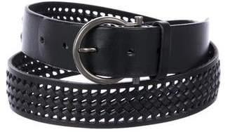 Salvatore Ferragamo Woven Leather Gancio Belt