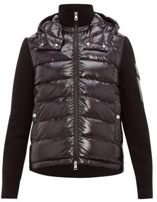 Moncler Rib Knit Hooded Jacket - Mens - Black