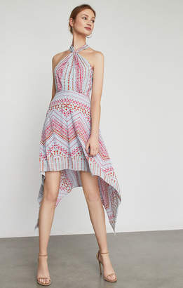 BCBGMAXAZRIA Danela Halter-Neck Geometric Print Dress