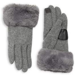 Echo Wool-Cashmere Blend Faux Fur Cuff Gloves
