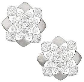 Adriana Orsini Women's Zena Rhodium-Plated Sterling Silver & Cubic Zirconia Floral Button Earrings