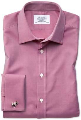 Charles Tyrwhitt Slim Fit Egyptian Cotton Royal Oxford Magenta Dress Shirt Single Cuff Size 15/34