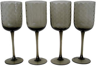 One Kings Lane Vintage Smoke Optic Glass Stemware - Set of 4