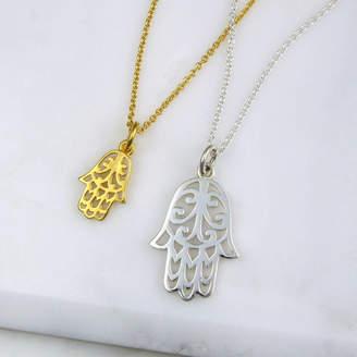 Black Pearl Hamsa Hand Necklace