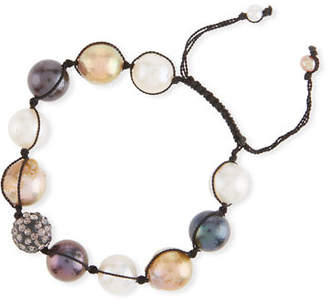 Margo Morrison Adjustable Baroque Pearl & Crystal Toggle Bracelet
