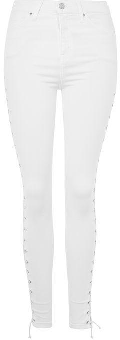 TopshopTopshop Moto white lace up jamie jeans