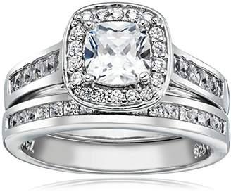 Sterling Silver Cubic Zirconia Cushion Cut Halo Channel Set Bridal Wedding Ring Set