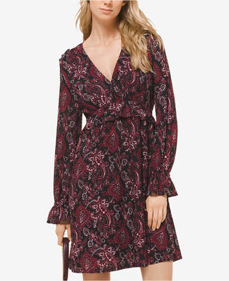 Michael Kors Printed Flounce-Trim Dress, In Regular & Petite Sizes