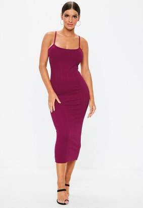 Missguided Purple Scoop Neck Strappy Bandage Midi Dress, Raspberry