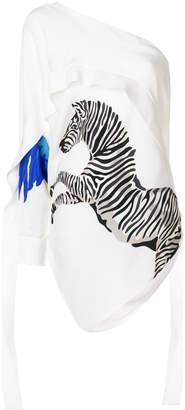 Krizia zebra print off shoulder blouse