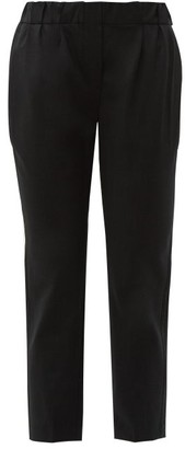 Brunello Cucinelli Beaded Slim Fit Wool Blend Trousers - Womens - Dark Grey