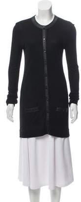 Balenciaga Semi-Sheer Leather-Trimmed Cardigan