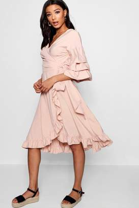 boohoo Ruched Sleeve Wrap Midi Dress