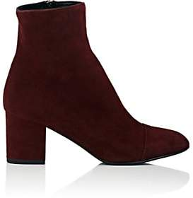 Barneys New York Women's Cap-Toe Suede Ankle Boots - Wine