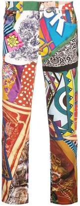 Moschino multi-print straight leg jeans