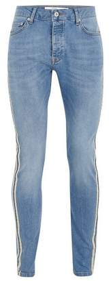 Topman Mens Blue Light Wash With Ecru Side Taping Jeans