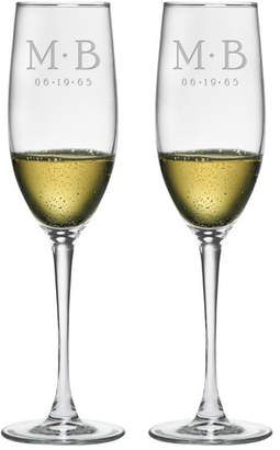 Susquehanna Glass Dot Monogram and Date Champagne Flute