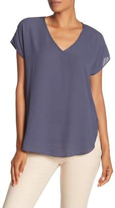 Catherine Malandrino Mixed Media V-Neck Blouse