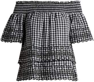 DAY Birger et Mikkelsen BLISS AND MISCHIEF Gingham off-the-shoulder cotton top
