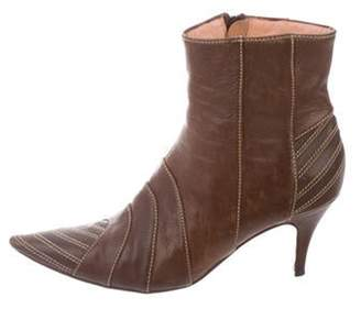 Marni Leather Pointed-Toe Ankle Boots Brown Leather Pointed-Toe Ankle Boots